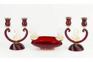 Murano ruby glass table garniture
