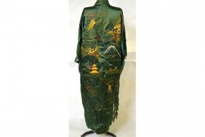 Chinese green satin robe