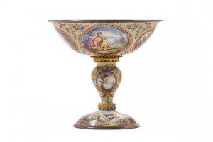 enamelled silver compote,