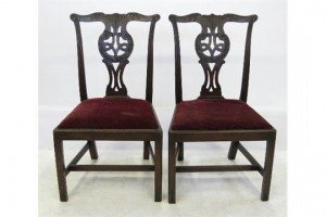 mahogany Chippendale design single chairs