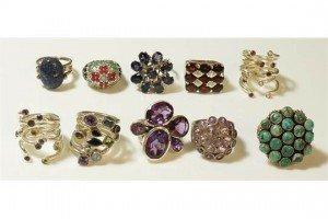 ten African silver rings