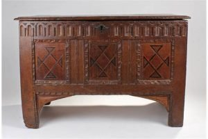 oak and inlaid coffer