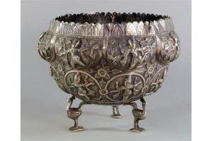 silver metal bowl