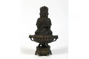Tibetan patinated bronze figural bowl
