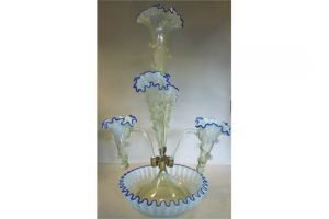 vaseline glass epergne