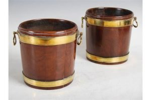 brass bound table top pails