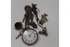 silver fob watch,