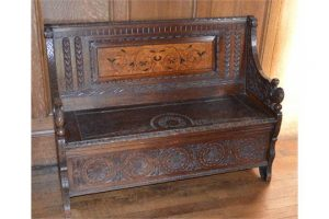 marquetry inlaid settle